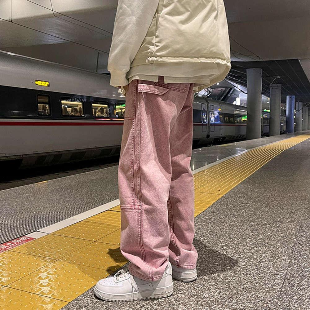 새로운 패션 남자 청바지 느슨한 권리 브룩 남자 캐주얼 헐렁한 데님 남성과 여성 핑크 / 블랙 / 블루