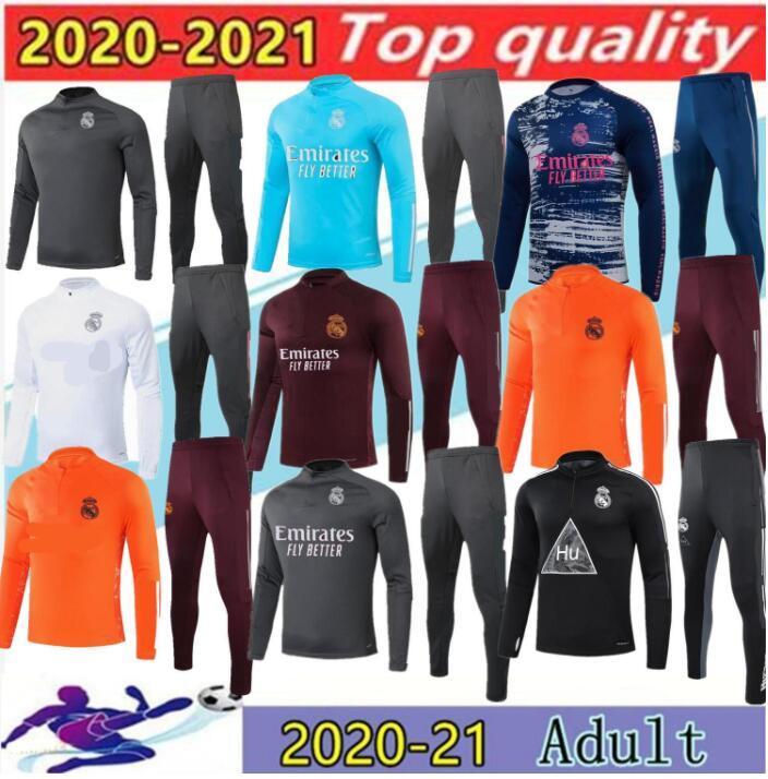 2021 성인 레알 마드리드 트랙 슈트 샹들리 풋볼 축구 훈련 정장 20/21 Camiseta de Futbol Real Madrid Tracksuit