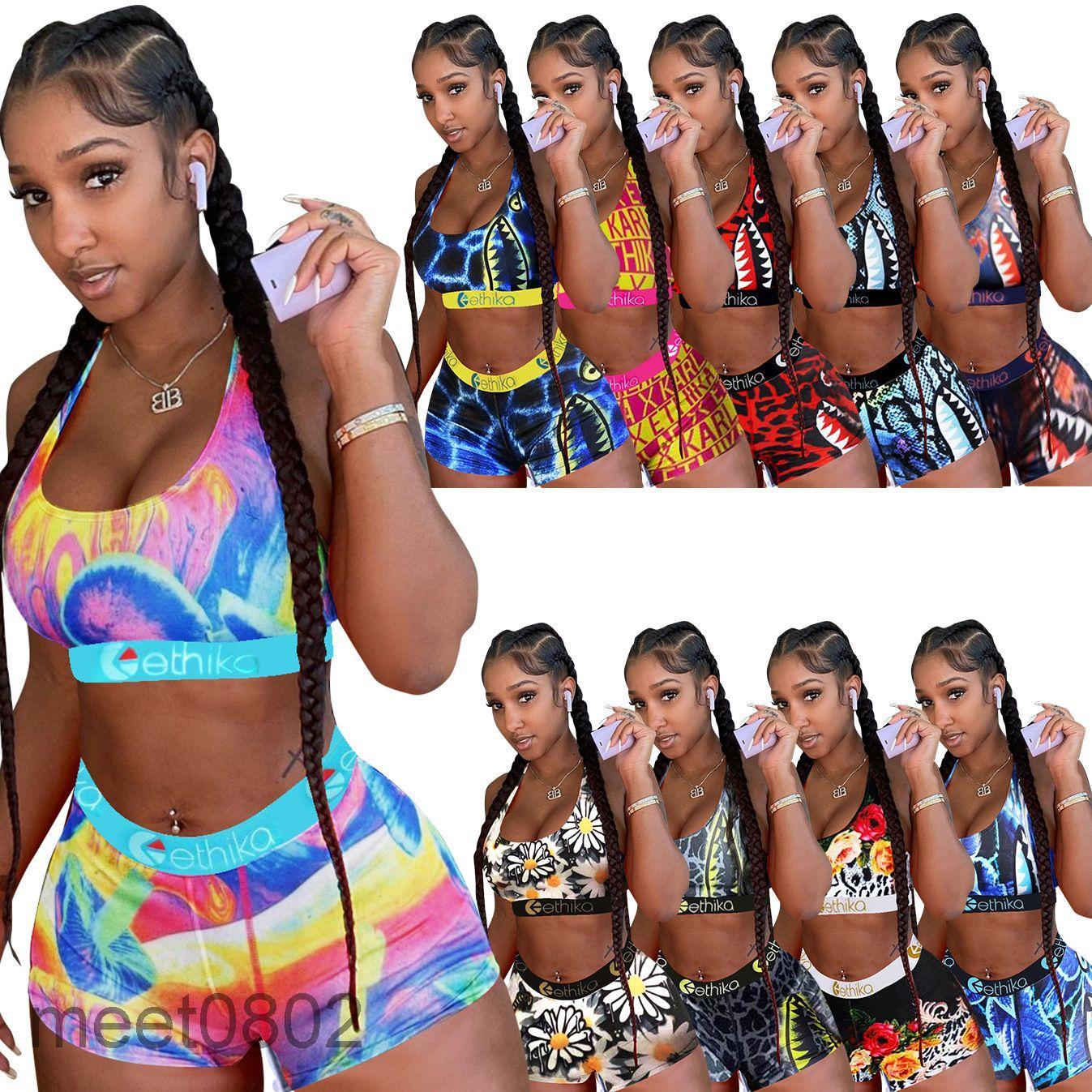 Womens Ethika Swimwear Designer 2021 Two Piece Set Swimsuits Pattern Printed Bikini 10 Color Optional Swimming Suits 9088