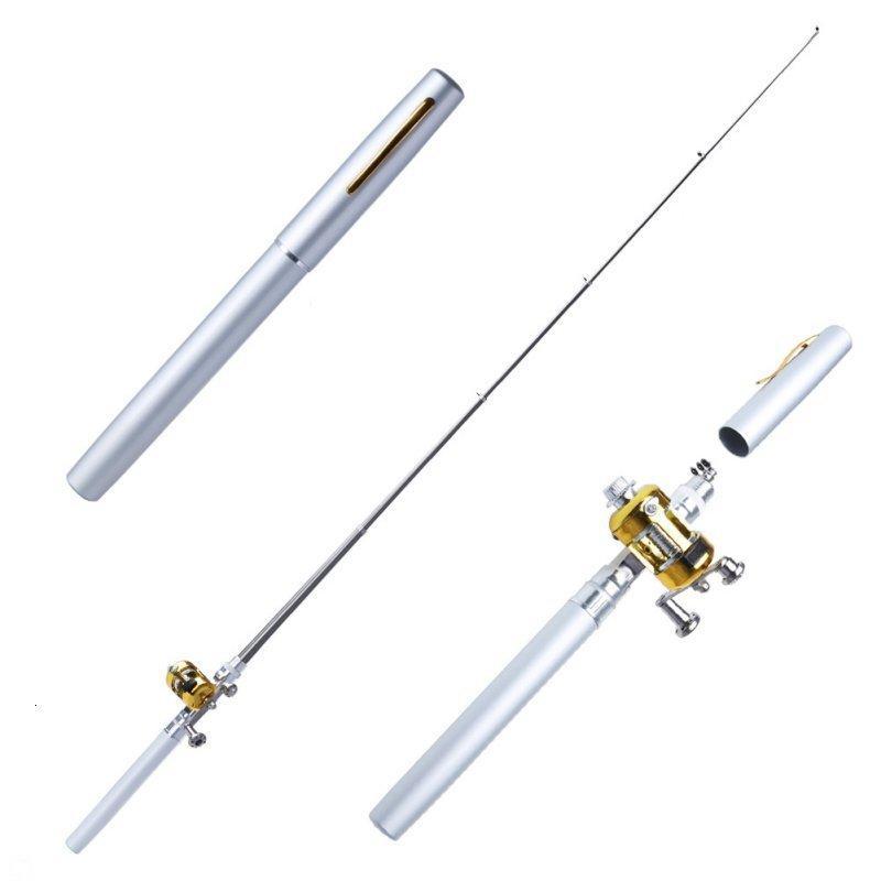 Nuevo metal portátil bolsillo telescópico Mini Pesca Pole Forma Barra de pesca plegada con rueda de carrete Dropshipping