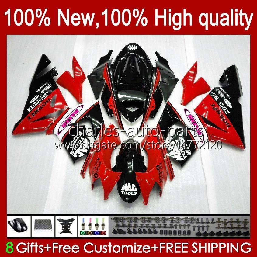 Cuerpo Rojo Fábrica Kit OEM para Kawasaki Ninja ZX1000C ZX 10 R 1000 CC ZX1000 04-05 CHORETWORK 9NO.137 ZX 10R 1000CC ZX10R 04 05 ZX-10R ZX1000CC 2004 2005 Farradero de la motocicleta