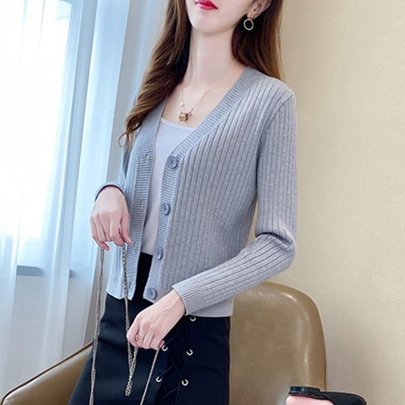 봄 가을 스웨터 여성 패션 숄 짧은 카디건 2021 긴 소매 니트 플러스 크기 스웨터 코트 여성용 니트 티셔츠