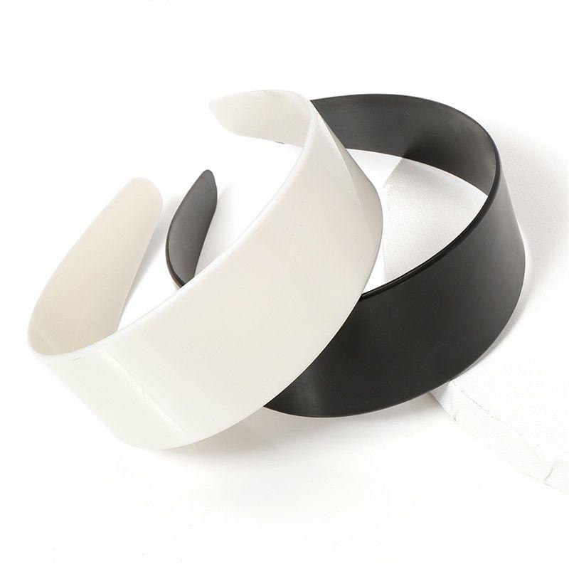 5 шт. 3.8 / 4.8см белый черный пластик широкие повязки повязки плоские рамки для DIY ювелирных изделий аксессуары изготовления волос базовая установка 1524 v2