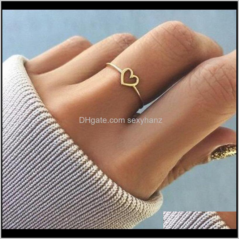 Band Rings Drop Delivery 2021 Dainty Women Hollow Heart Ring For Couple Wedding Promise Infinity Eternity Love Jewelry Boho Anillos Mujer Bff