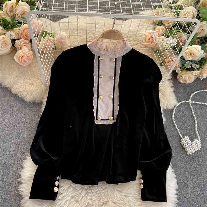 Autunno inverno cappotto invernale da donna dolce orecchio per orecchio per orecchio collare cuciture retrò velluto di velluto camicia UK805 210506