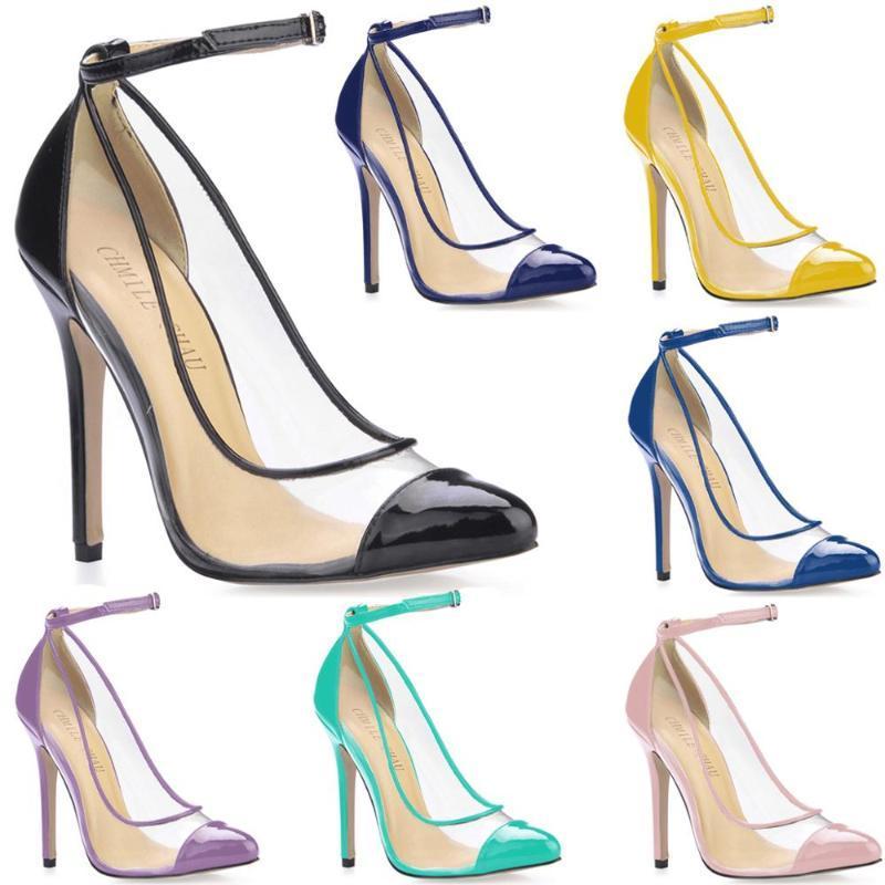 Seksi Parti Ayakkabı Kadın Sivri Burun Stiletto Yüksek Topuklu Ayak Bileği Kayışı Bayanlar Zapatos Mujer Escarpins Talon 0640-F1 Elbise Ayakkabı Pompaları
