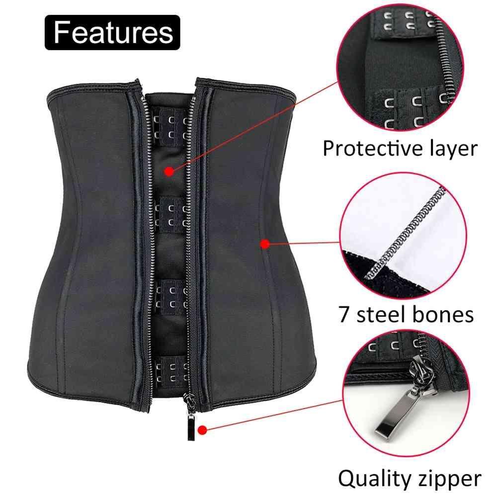 Женские латексные талии Trainer Body Shaper Corsets с молнией Cincher Corset Топ для похудения пояс черных формирований Player Plus