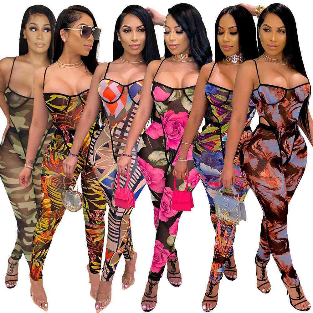 Женские комбинезоны мода повседневная ремень обертка сундук тонкий сексуальный напечатанный легинги без рукавов боди 835