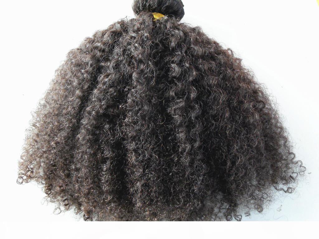 Extensions de cheveux humains péruviens 9 pièces avec 18 clips Clip dans les produits capillaires Style de cheveux Brown foncé Naturel Naturel Couleur Afro Kinky Curl