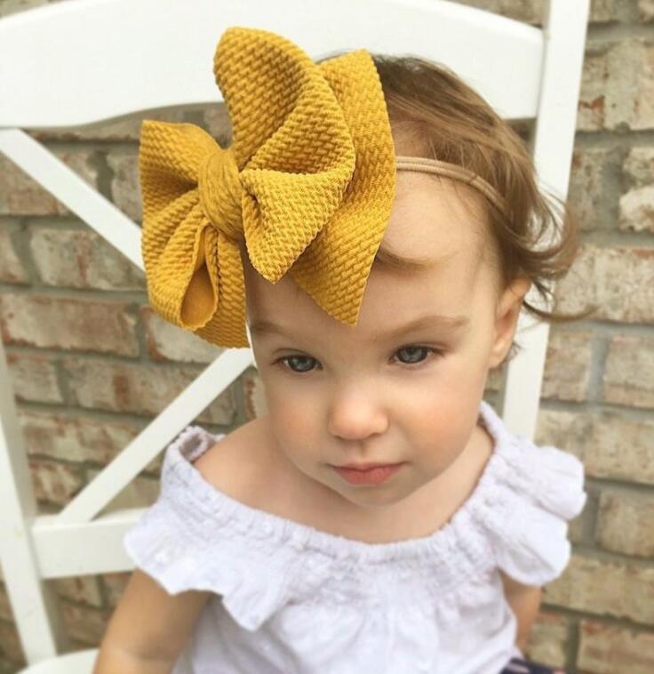 INS 16 Colores Lindo Big Bow Hairband Baby Girls Niños Niños Elástico Diadema Nudada Turban Cabeza Wraps Bow-Knot Accesorios para el cabello