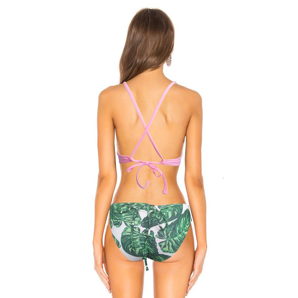 Bikini Mujer sexy hoja de cintura baja pantalones de cintura