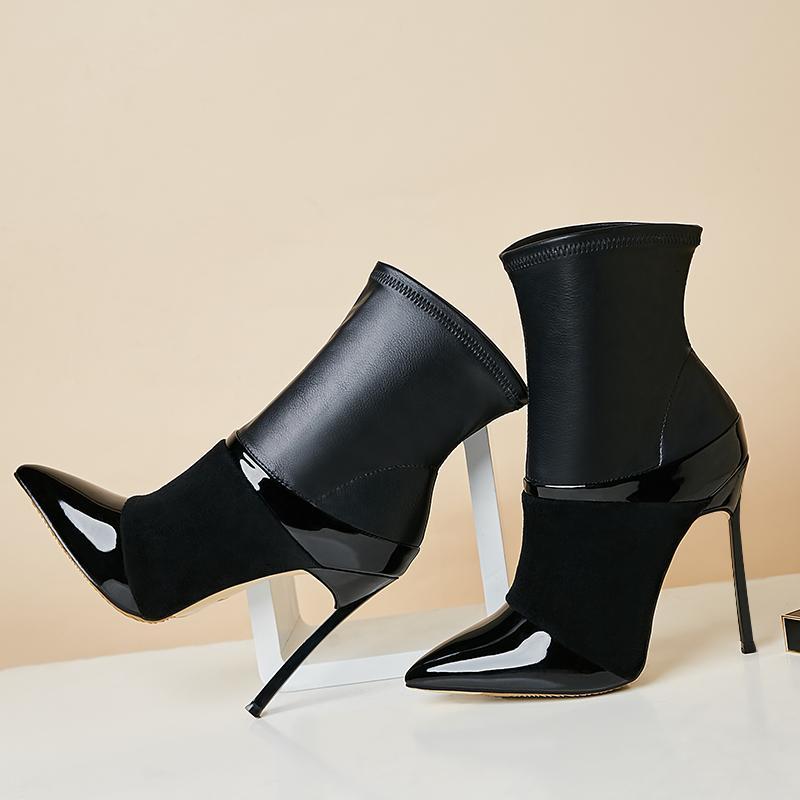 boot sexy finger finger spitze klinge ferse spur knöchel weiblicher mode gemischte farbe leder high heeled stiefel