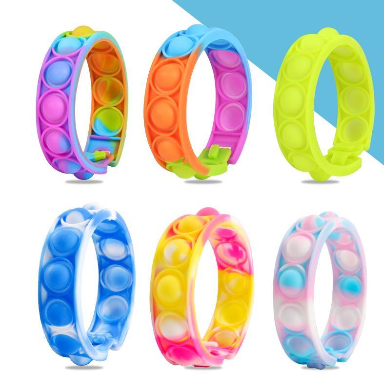 Child gift Bracelets Fidget Toys Pack for Kids favor Mini Simple Dimple Digit Push Bubble Popping Silicone Wristband Boy and Girl Sensory Decompression Toy