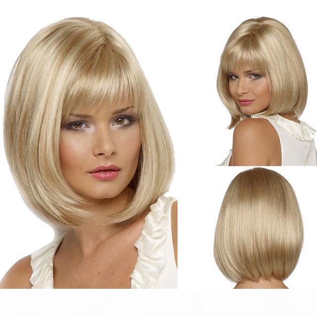 Europäische und amerikanische Bobo-Perücke weibliche kurze glatte Haarlicht Goldmode Europäische und amerikanische afrikanische Perücke Kopfbedeckung