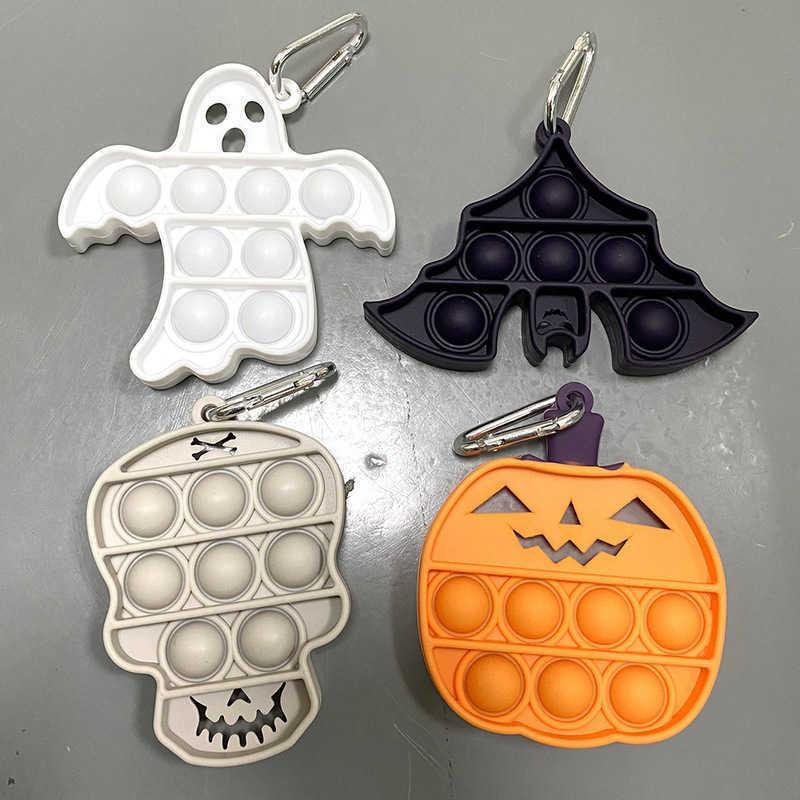 Venta al por mayor / DHL Halloween Pumpkin Bat Ghost Skull Push Pull Pops Fidget Toys Sensory Simple Llavero Tablero Burbuja Puzzle Llavería Kids DecomPression Fiesta Regalo G921RIH