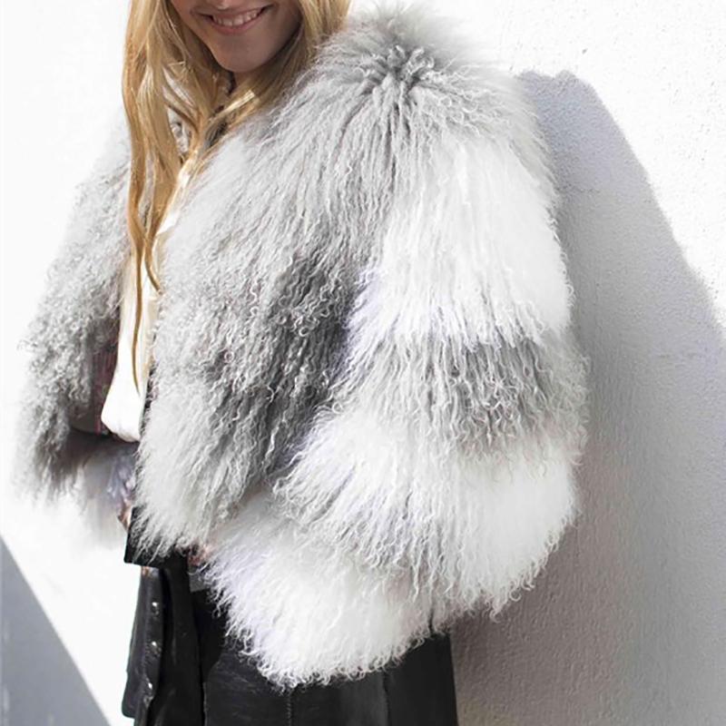 تصميم أوليفيا إمرأة خروف معطف الفرو تان الأغنام معاطف قصيرة الجلد سترة 55cm منغوليا في حقيقي المرأة فو
