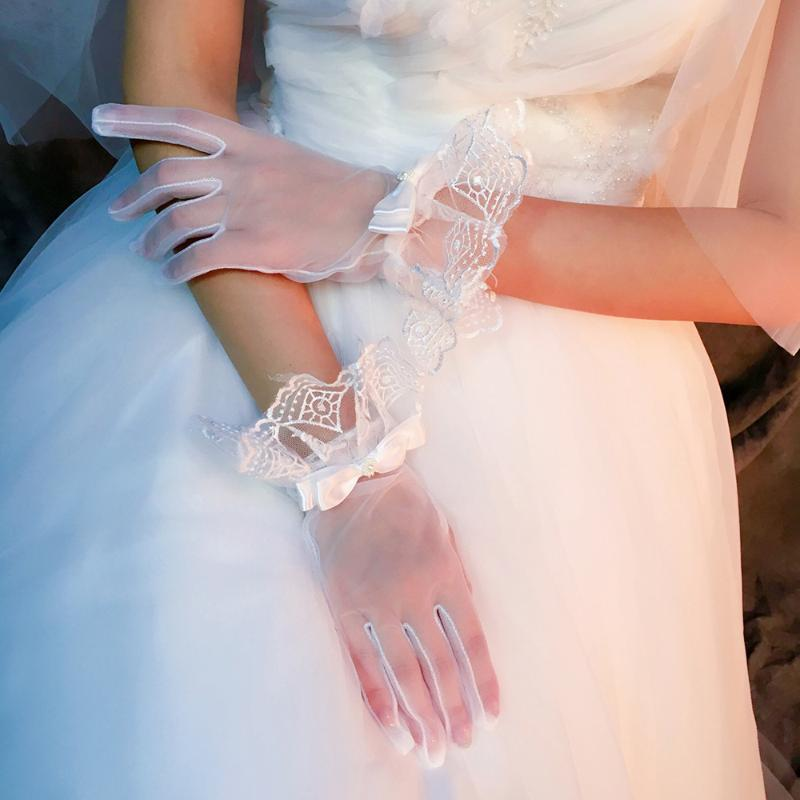 2021 Branco Luvas curtas Mulheres Ruffle Luvas de Bow Fada Luvas Elegantes Laço Branco Para Acessórios De Forma De Festa de Aniversário