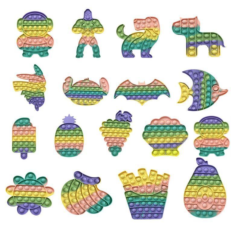 DHL Gorilla Tiere Reversible Flip Push Bubble Sensory Zappel Spielzeug Autismus Sonderanforderungen Stress Reliever, Makaron Farbe Squeeze Toys Überraschung Großhandel CY06