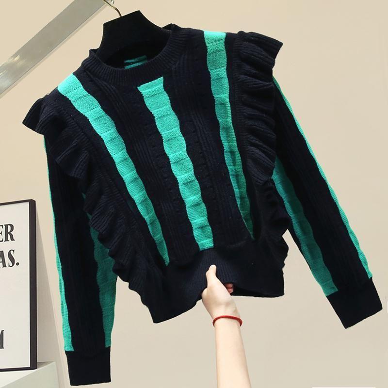 2020 Sujetadores de invierno de otoño Mujeres Todos los partidos a rayas Black and Green Jerseys Coreano Séter Mujer Moda