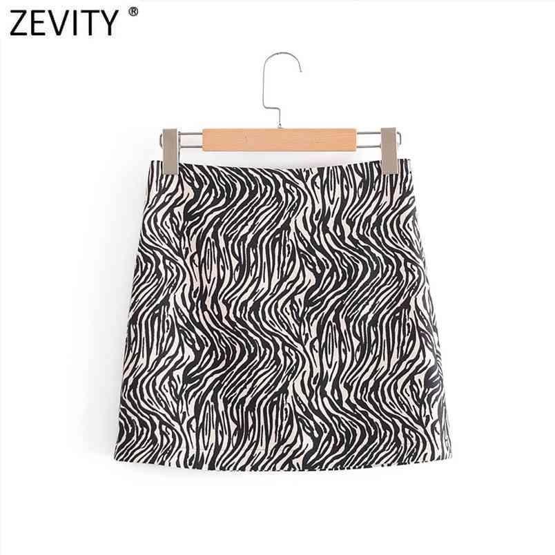 Femmes Mode Zèbre Striché Taille High Taille Casual Slim A Line Jupe Faldas Mujer Chic Side Zipper Mini Vestido Qun725 210420