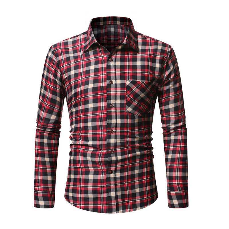 두꺼워졌고 모직 격자 무늬 셔츠, 남성용 긴 소매 셔츠, 캐주얼 남성 셔츠
