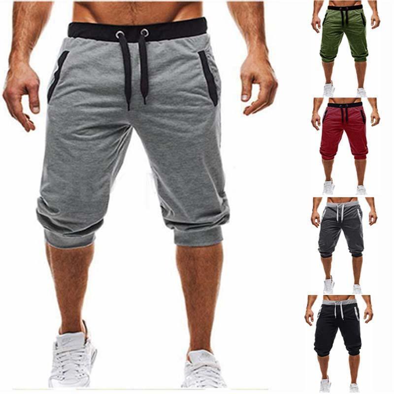 Mode Sommer Casual Herren Knie Longg Farbe Patchwork Jogging Kurze Sporthosen Bermuda Shorts