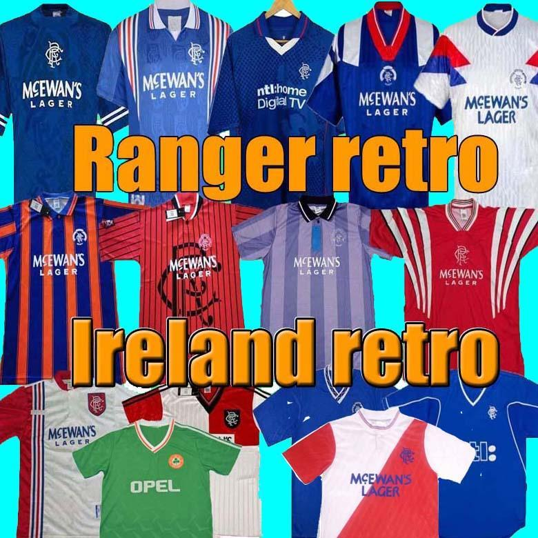 Glasgow rangers vintage 87 90 92 94 96 97 99 01 Retro jerseys red white blue away Ireland Soccer Shirts football kits Uniforms