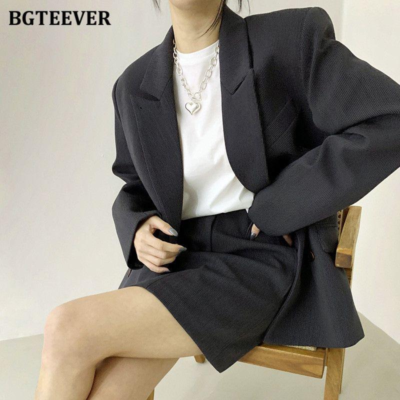 BGTEEVER Vintage Trajes de mujer elegante Doble Blazer Blazer High Cintura Mini lápiz Falda 2021 Spring Ladies 2 piezas