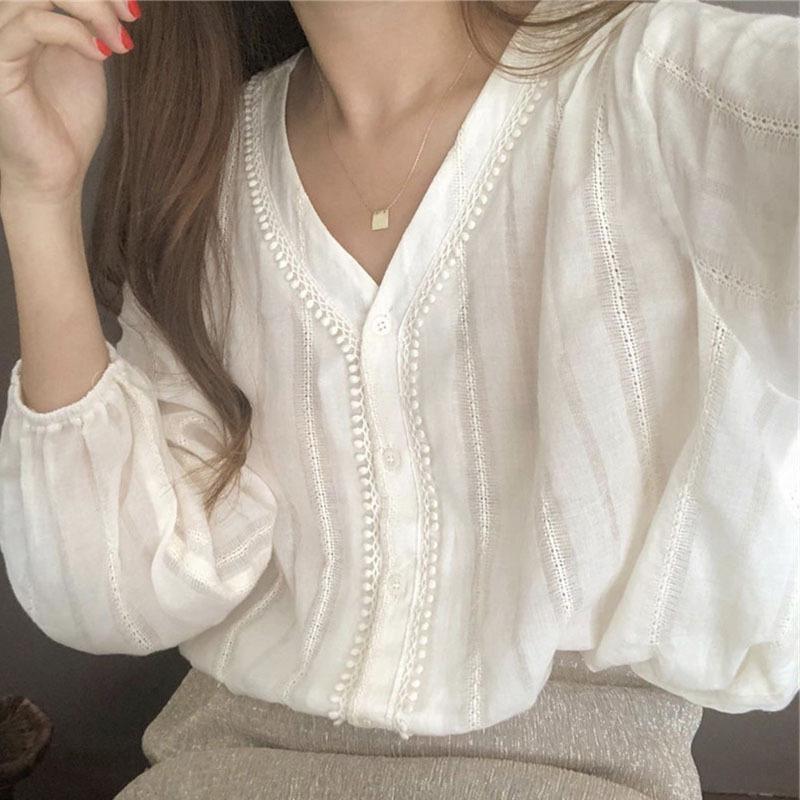 Frauen Blusen Hemden Philisophie Frauen Herbst Langarm Bluse Vintage Einreiher Weibliche Lose V-Ausschnitt Straße Top Plus Größe