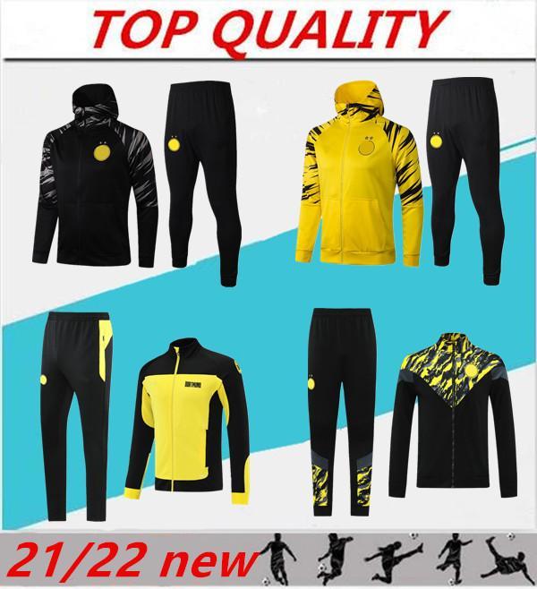 2021 2022 Sancho Haaland Soccer Jacket مجموعات طويلة الأكمام التدريب البدلة رياضية 21/22 survetement reus خطر الرياضة ارتداء كرة القدم جاكيتات كيت