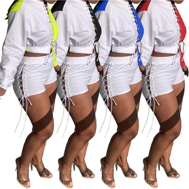 النساء الخريف رياضية اثنين من قطعة مجموعة هوديس السراويل الألواح الألواح الصيف زائد الحجم 2xl المحاصيل قمم الربيع ضمادة الخريف capris dhl 5604