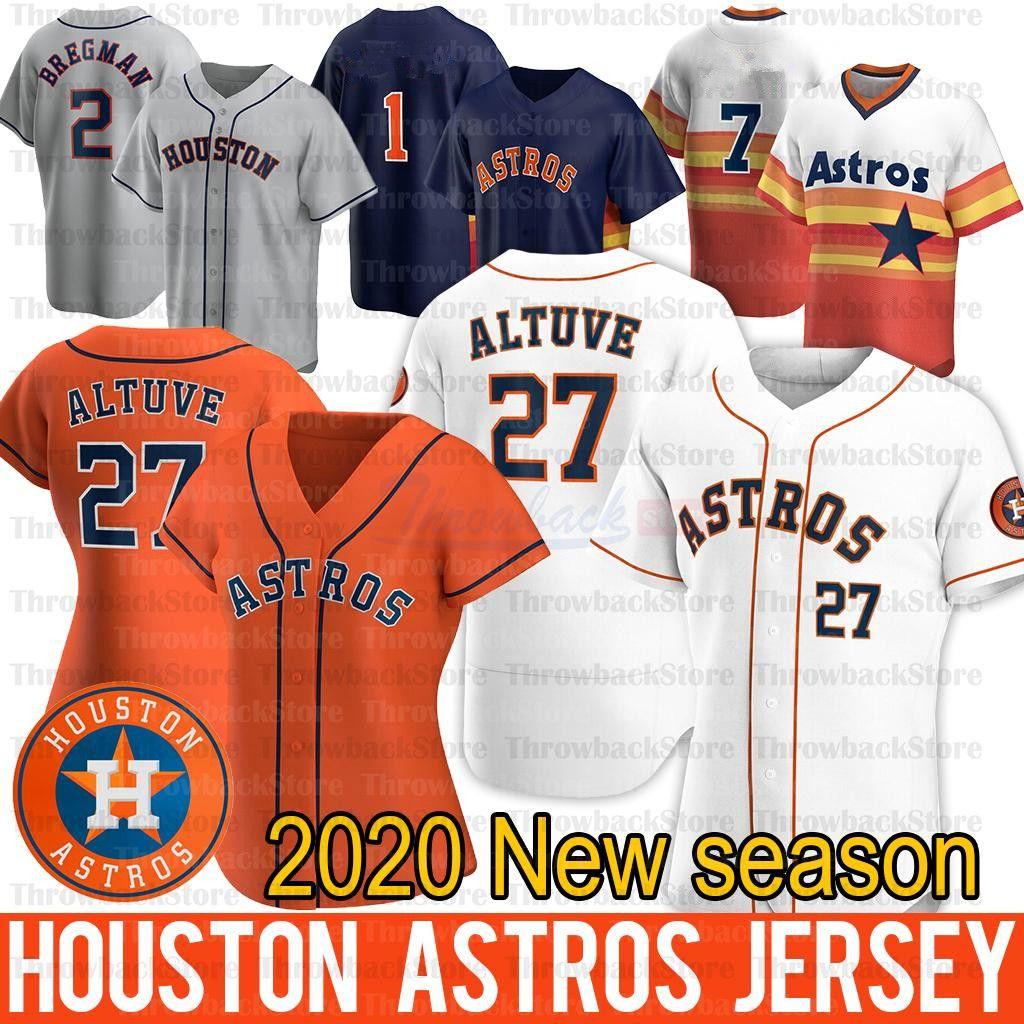Houston George Springer Jersey Alex Bregman 27 Jose Altuve Zack Greinke Justin Verlander Yuli Gurriel 2020 maglie stagionali