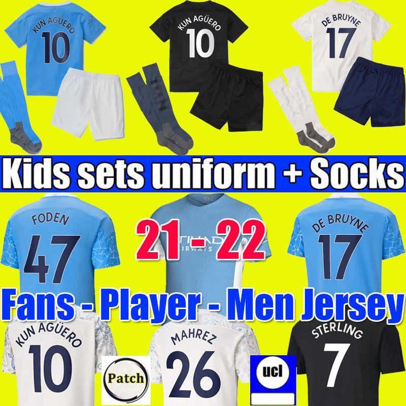 Manchester city soccer jersey 20 21 22 G. JESUS STERLING FERRAN DE BRUYNE KUN AGUERO 2021 2022 football shirts MAN uniform men + kids kit boys sets with socks