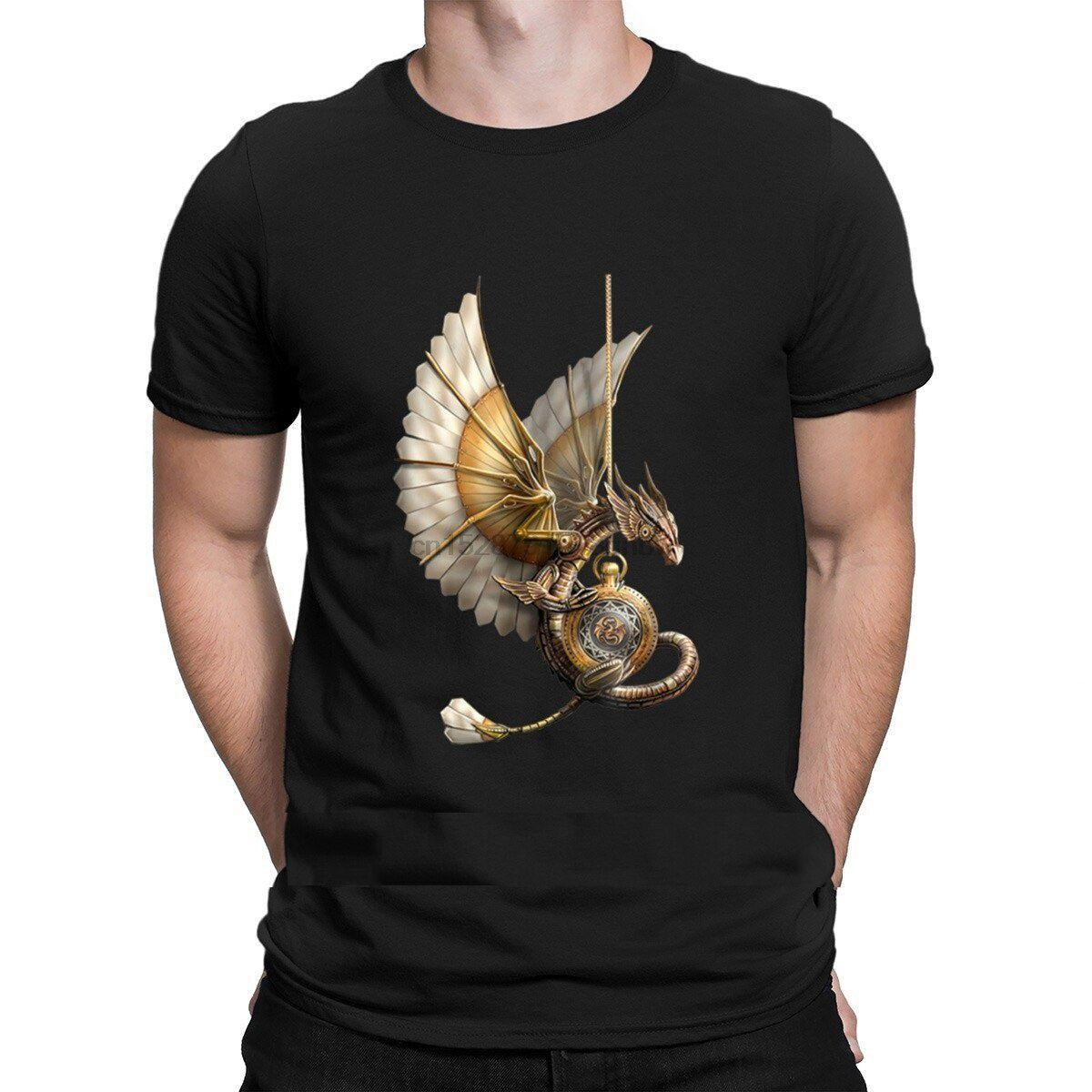 Steampunk Dragon on Watch Vintage t 100% Cotton Comfortable o Neck Designer Gift Summer Style Solid Color Shirt [<fmbefx8@163.com