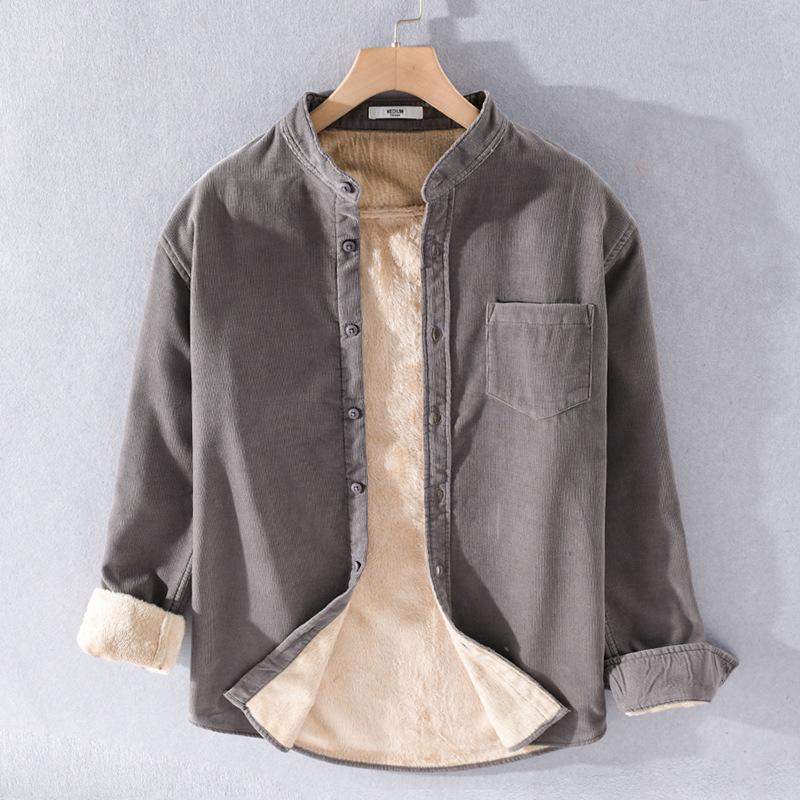 겨울 패션 두꺼운 플러스 코듀로이 남자 따뜻한 긴 소매 잘 생긴 청소년 학생 모두 캐주얼 솔리드 컬러 셔츠 남성
