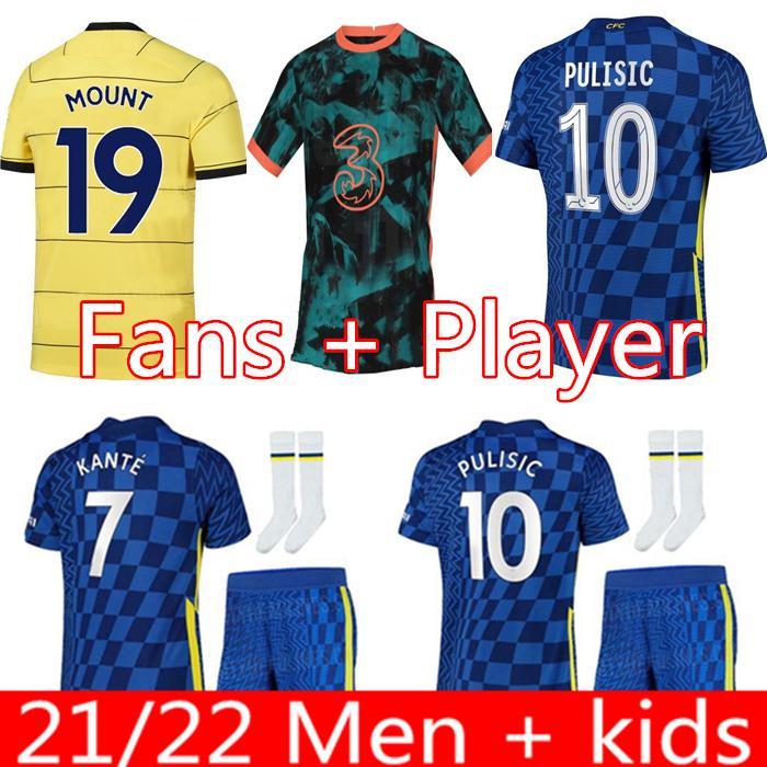 Werner 축구 유니폼 Pulisic Ziyech Havertz Kante Abraham Chilwell Mount Jorginho 2021 2022 Giroud 축구 셔츠 20 22 홈 멀리 제 4 남자 + 키트 키트
