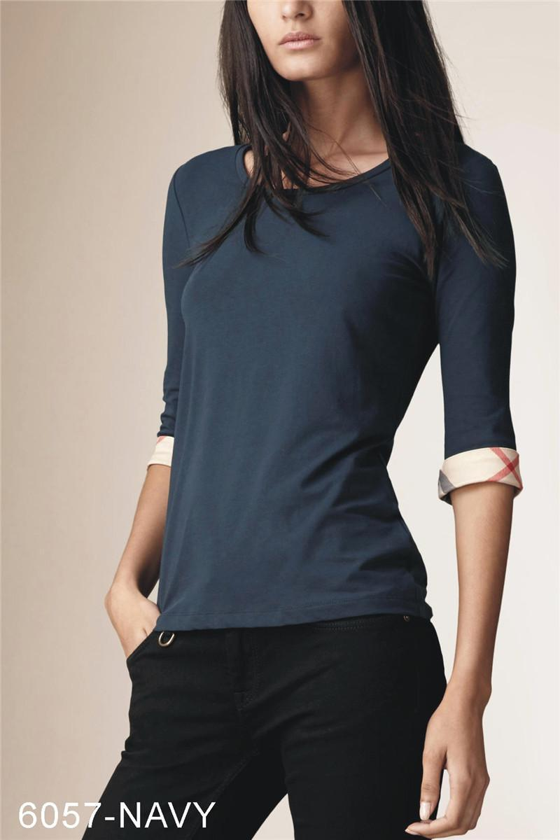 Nuovo design Mezza manica in cotone o-collo T-shirt Fashion Brand Marca di alta qualità Plaid Signore T-shirt Black Bianco Pink S-XXL