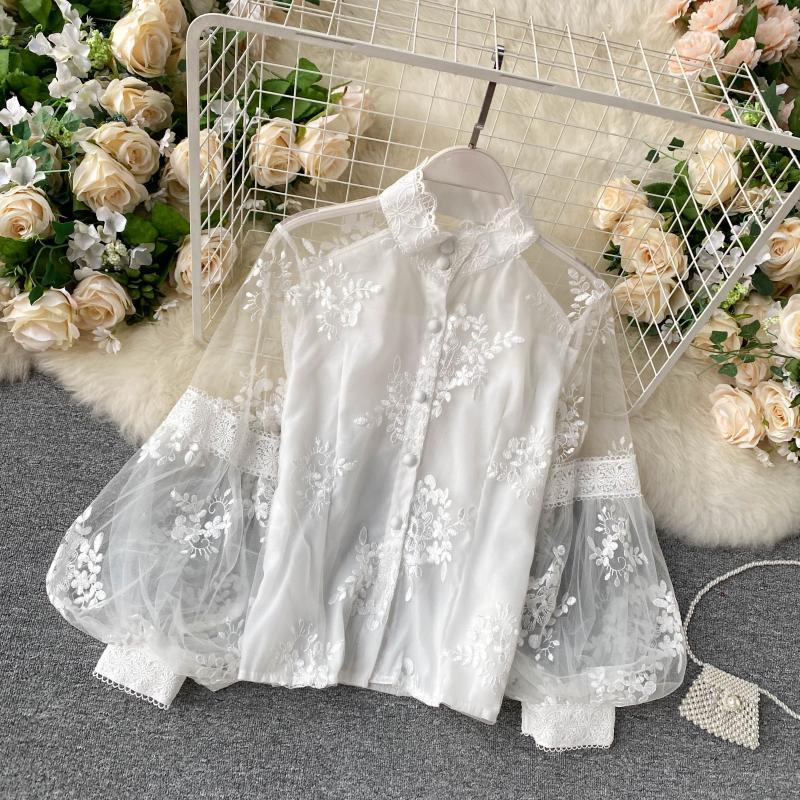 French retro mesh lace top women's shirt vertical collar three dimensional embroidery bubble sleeve court style slim