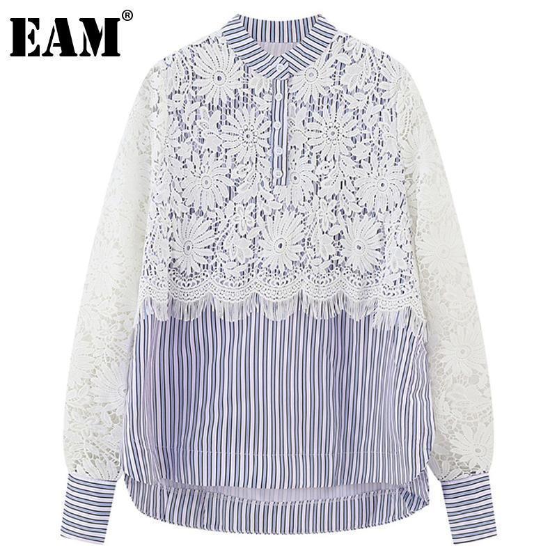 [EAM] Frauen Blaue Spitze Gestreifte Große Größe Bluse Stehkragen Langarm Lose Fit Hemd Mode Frühling Herbst 2021 1DD526005 Frauen Blusen