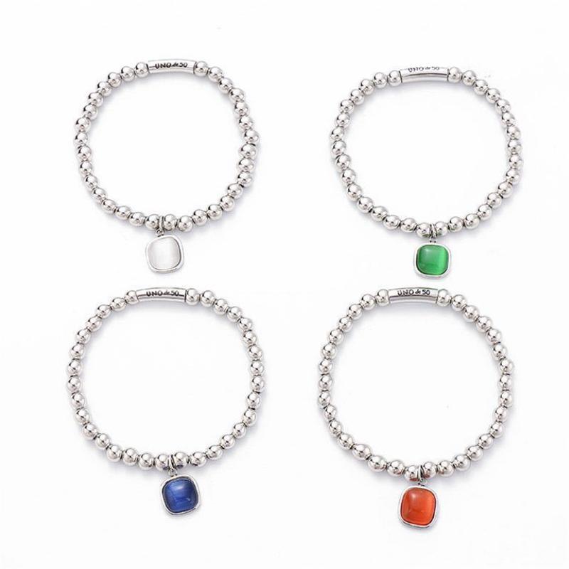 Blocco, Fili Fashion Bracciale in acciaio inox 6mm Palla rotonda Tubo in pietra naturale Opal Und DE 50 Gioielli