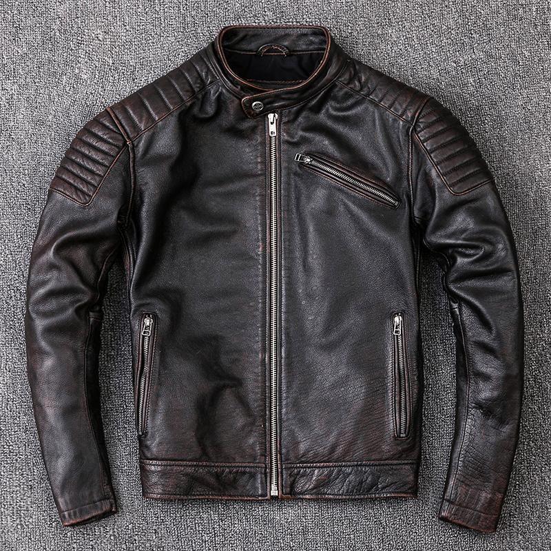 Jaquetas masculinas Marca de vaca roupas de couro moda retro motocicleta jaqueta legal casaco de alta qualidade