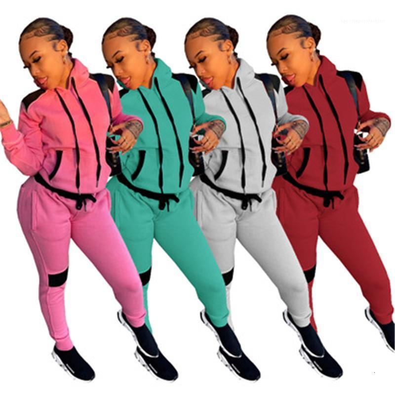 Frauen 2 stücke Sets Mode Trend Langarm Kapuzenspitzen Kordelzug Hosen Sport Anzüge Weibliche Frühling Neue Casual Slim Trainingsanzüge Frauen Farbe SP