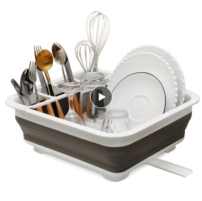 Faltbare Teller Küchenträgerhalter Abtropfschüssel Geschirrteller Tragbare Trockengestell Home Shelf Geschirr Organizer