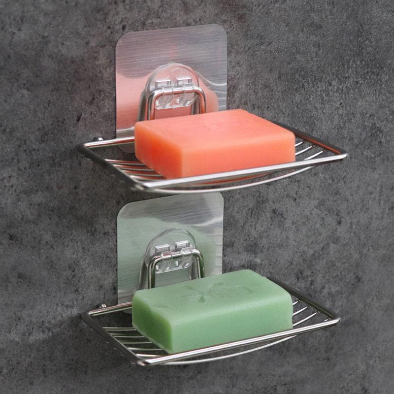 PCS de acero inoxidable plato de jabón de drenaje de pared para colgar el estante de baño chupador de ducha accesorios accesorios platos