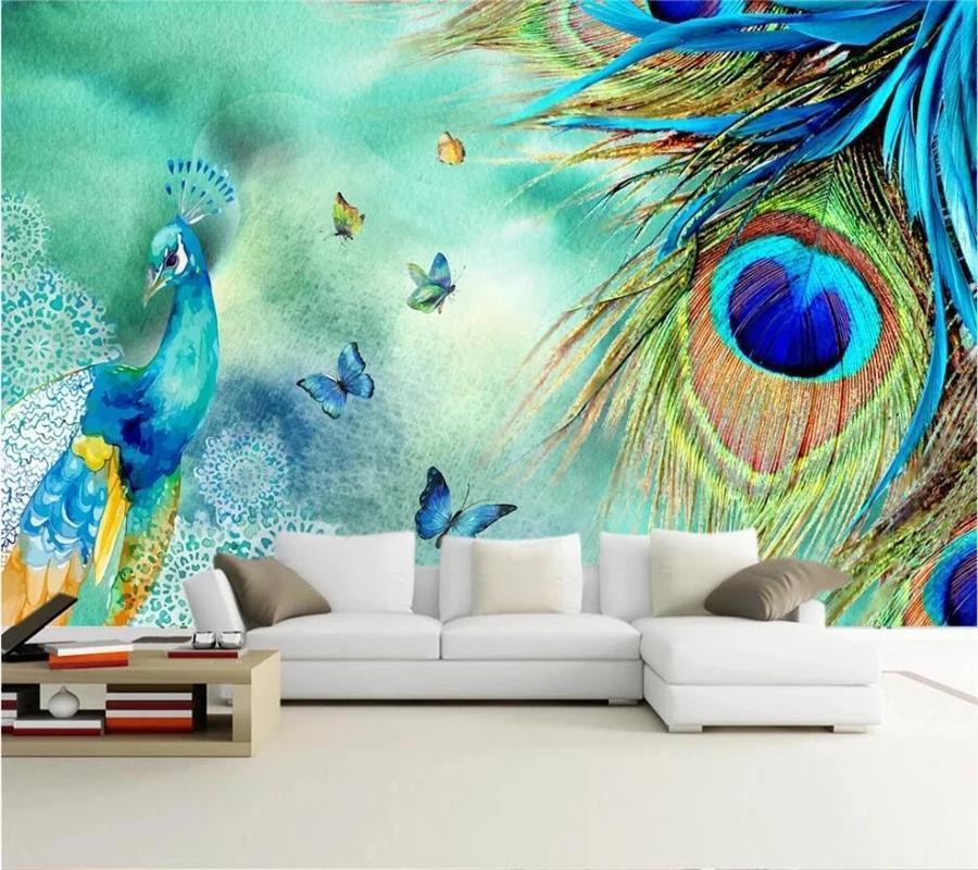 Wallpapers personalizado auto adesivo papel de parede 3d moda simples pavão rico afortunado auspicioso tv fundo sala de estar pinturas decorativas