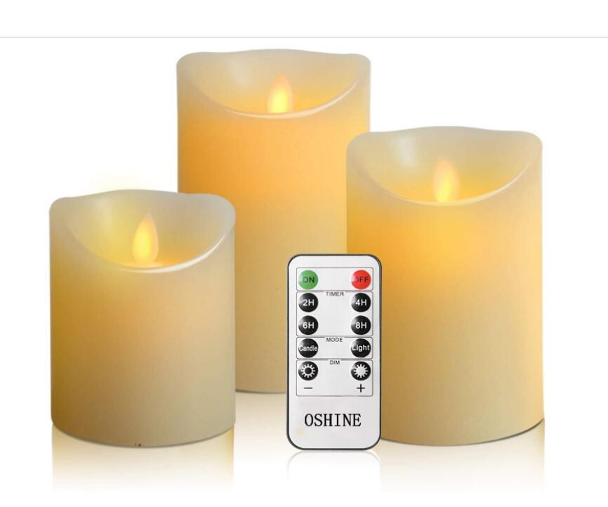 """Flameless Candlestick Battery Controller LED Candles 3 Piece Set 4""""5""""6""""H (3.15""""D) Flash Flame with Remote Control and timed True Wax Gift"""