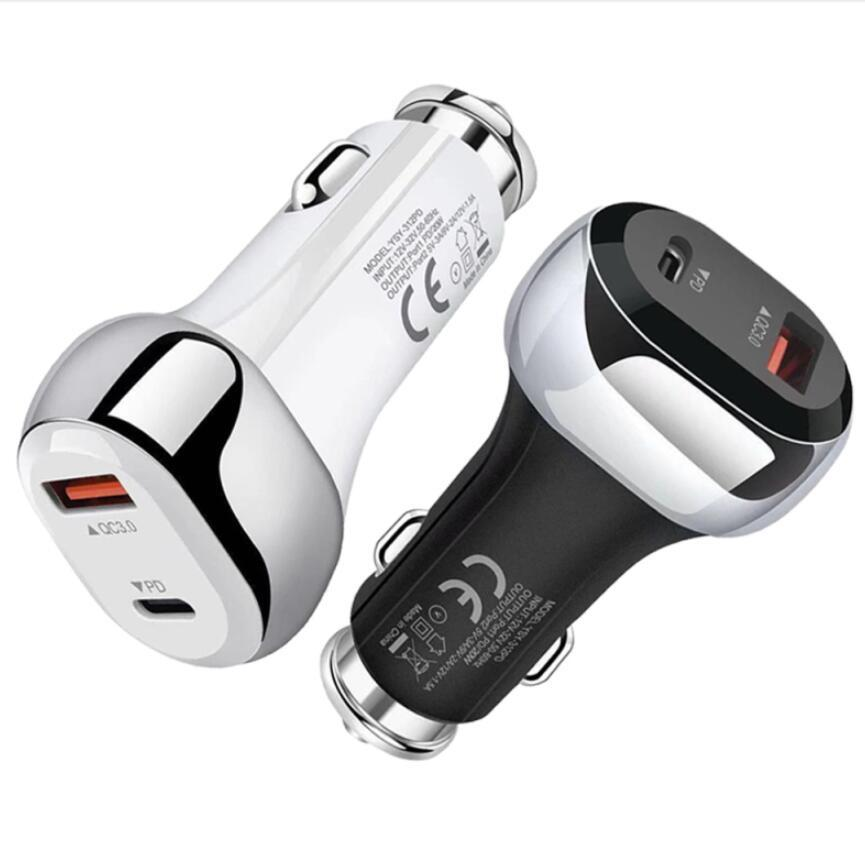 20W Auto Car FAST Charger Quick Charge 2 USB Port+Type-C PD QC3.0 Mobile Phone BLACK WHITE