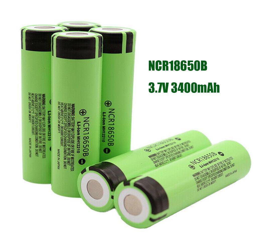 Yüksek Kaliteli 18650 Pil NCR18650B 3400 mAh 3.7 V Lityum Pil Li-On Cep Hücre Düz Üst Şarj Edilebilir Piller için Panasonic için E Sigara Flaş Işık FedEx Gemi
