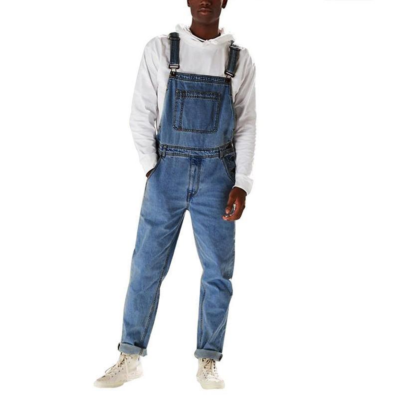 Jeans masculinos 2021 Moda Denim Bib Calças de comprimento total Jumpsuits Hip Hop Macacões Diretos para Homens Streetwear