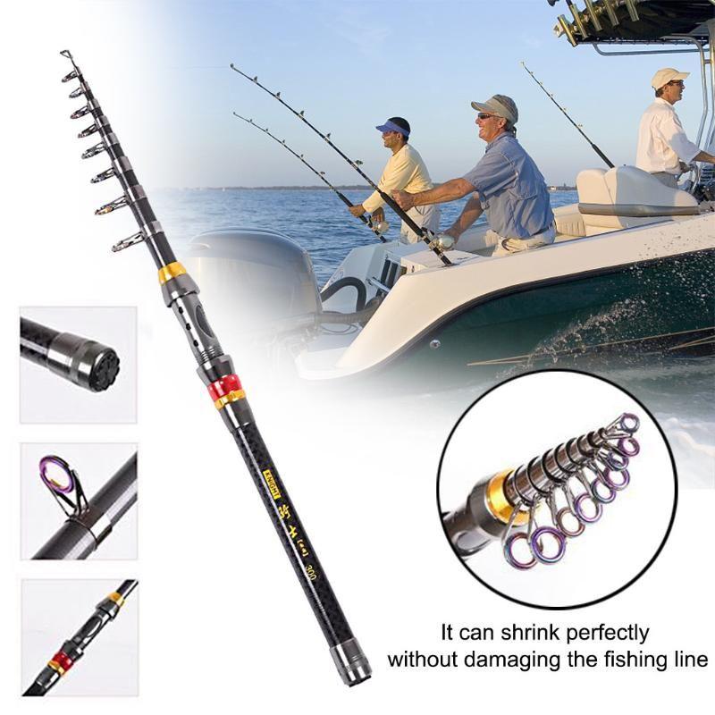1,8M-3.6M Caña de pescar de fibra de carbono portátil de la pesca Ajustable Viaje retráctil Rotating Herramientas de giro Barras de barras